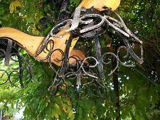 vecchio originale lampadario tipo Medioevo 3 luci legno ferro battuto x rustico