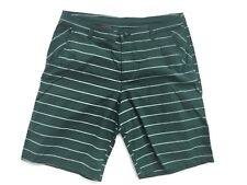Men's LULULEMON Flat Front Casual/Walking Shorts Green Striped Size 36