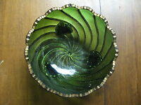 EAPG DUNCAN GREEN BEADED SWIRL BERRY BOWL WITH GILT EDGING - LARGE