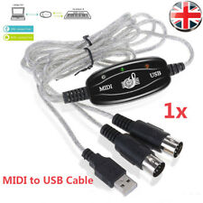 USB to MIDI Cable Keyboard Interface Adapter In & Out Lead for PC Windows UK