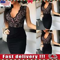 Women Lace V Neck Bodycon Mini Dress Ladies Sexy Evening Party Cocktail Clubwear
