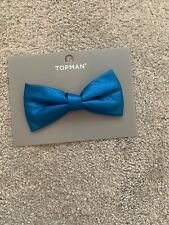 Topman Dicky Bow, Bow Tie Mens Faux Leather Badge Like Fastener Blue