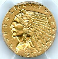 1911-D $2.50 Gold Indian, PCGS AU-58 Strong D, Gold Quarter Eagle, Very Nice PQ!