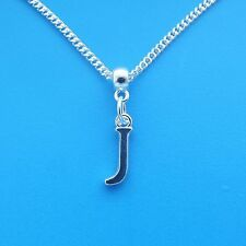 """1 x Silver Plated 18"""" Letter J Necklace Alphabet Initial"""