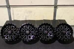 """YAMAHA GRIZZLY 450 14"""" SYSTEM 3 ST-4 MACHINED / BLK ATV WHEELS (SET 4) IRS1CA"""