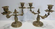 Paire de CHANDELIERS en Bronze des Années 1980 - Bougeoirs