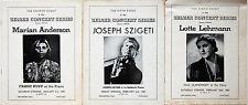 MARIAN ANDERSON, JOSEPH SZIGETI, LOTTE LEHMANN, 3 Zelzer Concert Series, 1949-50