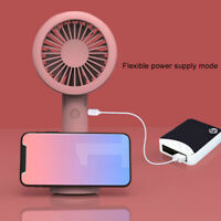 AU_ KQ_ Portable Handheld USB Rechargeable Desktop Folding Cooling Fan LED Night