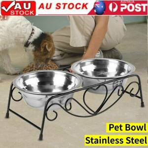 Dual Elevated Pet Feeder Bowl Dog Cats Stainless Steel Food Water Bowls Stand AU