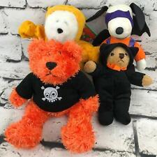 Halloween Plush Lot Of 4 Teddy Bear Snoopy Wearing Costumes Stuffed Animal Toys