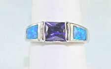 Blue Fire Opal & Amethyst 8X6 Emerald Cut Ring Sterling Silver #8 50% Off Retail
