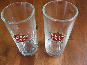 """TWO PROMO HAVANA CLUB RUM EL RON DE CUBA ADVERTISING SLOGAN LOGO 5 1/4"""" GLASS"""