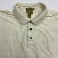 Gold Tri Mountain Polo Shirt Men's Size 3XL XXXL Short Sleeve Cream Cotton 2 Ply