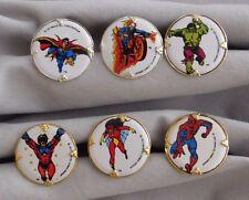 1977 Captain Marvel Spiderman Hulk Ghost Rider Dr Strange Spider-Woman Ring LOT