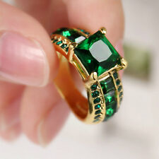 Women Gift Emerald Gemstone 10kt Yellow gold filled Fashion Jewelry Ring Size 6