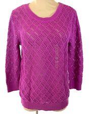 New Ann Taylor Loft Womens Tunic Sweater Size L Pink Purple Crochet 3/4 Sleeve