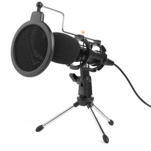 USB Condenser Studio Microphone Mic w/Stand Clip for PC/Laptop Live Streaming UK