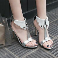 Womens Open Toe T-straps Slim Heel Heels Ankle Buckle Party Tie Sandals Shoes