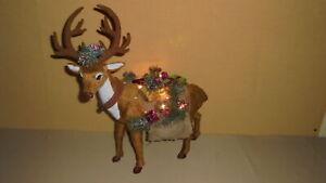 Weihnachtsdeko, Rentier mit LED-Beleuchtung, ca. 43cm