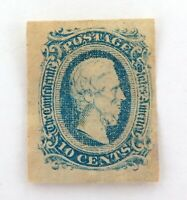 .1863 USA CONFEDERATE STATES IMPERF. 10c MH VERY THIN STAMP.