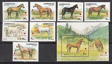 Horse Azerbaijan 1997 MNH** Mi. 353-360 Bl.27 Rare with Red Cross Overprint
