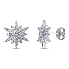 Haylee Jewels Sterling Silver Cubic Zirconia Clustered Star Stud Earrings
