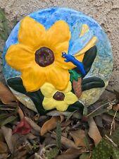 Handcrafted wall plaque/dragonfly/flowers/ indoor/outdoors/hanging/ga rden decor