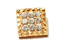 Vintage Czech hand crafted gold tone button crystal glass rhinestones 20mm