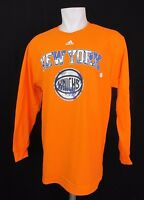 New York Knicks NBA Adidas Men's Long Sleeve Orange Shirt