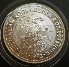Australia 2 Oz .999 FINE SILVER BU 2 Dollar Kookaburra 1993 en boîte + COA
