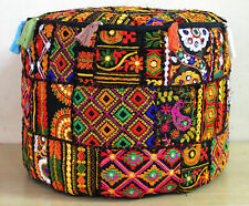 Black Pouf Ottoman Covers Patchwork Footstool Embroidery Mandala Cushion Cover