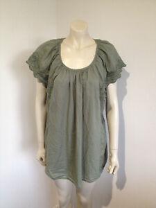 Alexia Short Sleeve Khaki Embroidered Blouse Size 20