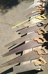 Lot of 9  Vintage  Hand Saws  old antique tools