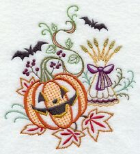 Autumn Jack O Lantern Set Of 2 Bath Hand Towels Embroidered By Laura