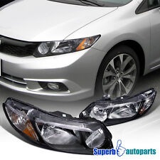 For 2006-2011 Honda Civic 4Dr JDM Style Headlights Black Pair Replacement