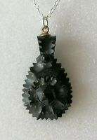 Antique Victorian Whitby Jet Carved Black Mourning Black Pendant 925 Necklace