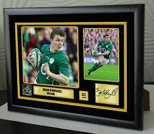 """Brian O'Driscoll Rugby Union Enmarcada Lona Homenaje impresión firmada """"Gran Regalo"""""""