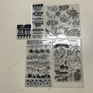 BINGMAX Christmas Clear Stamps for DIY with Deers Party Decoration Card Making and Scrapbooking Paper Crafts