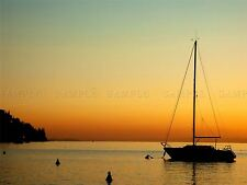 PHOTOGRAPHY SEACAPE SUNSET SILHOUETTE YACHT BOAT CALM SEA POSTER PRINT BMP10707