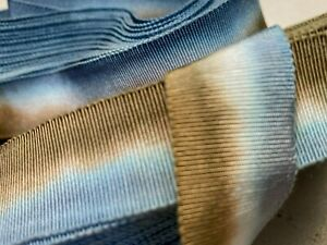 """Vintage Cotton Rayon 1 1/4"""" Petersham Ribbon Tobacco Blue 1yd Made in France"""