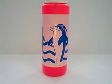 retro 1990s neon pink dolphin graphics  green straw  large plastic water  bottle