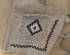 "Handmade Burlap Tote Purse Kosova With Tags and Signed 11 x 12"" With Long Handle"