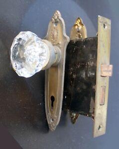 Antique Vintage Old Sargent Deco Brass Steel Door Lock Lockset Glass Knob Plate
