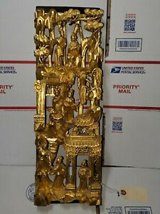 """Antique Chinese Temple Wood Carving Panel with Gold Gilt,  6""""x 18""""x 2"""" Signed"""