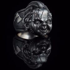 Chucky Doll Horror Ring, Child's Play, sterling silver, handmade