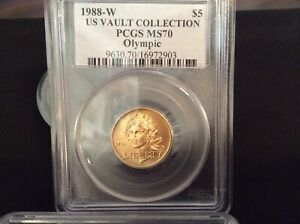 1988 W Olympics $5 Gold Coin PCGS MS 70