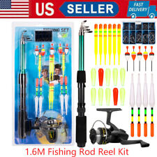 Fishing Rod Reel Combo Telescopic Pole Spinning Reels w/ Fishing Tackle Kit X5J1