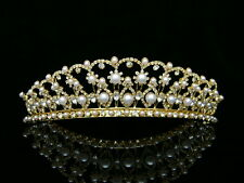 Gold Bridal Rhinestones Crystal Pearls Wedding Crown Tiara 9394