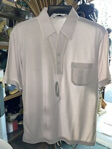 Vintage Enro Featherlock Disco Shirt Pleated Pocket NEW Medium TAUPE