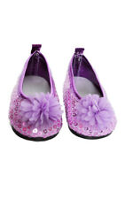 Lavender Sequin Flower Flats for Wellie Wisher Dolls
